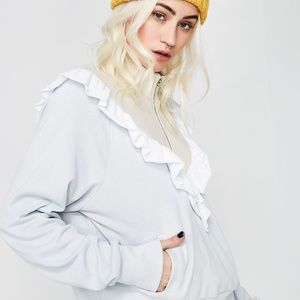 Wildfox Prima Warm-up Pullover Sweatshirt Grey NWT